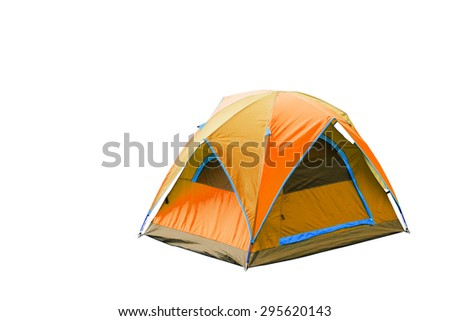 Isolated orange dome tent with clipping path - stock photo