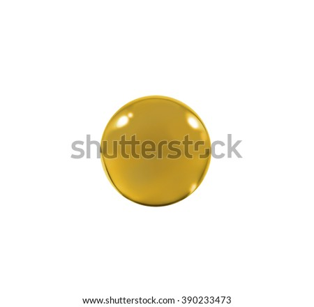 Isolated Orange glass ball or marble over white background with clipping path. - stock photo