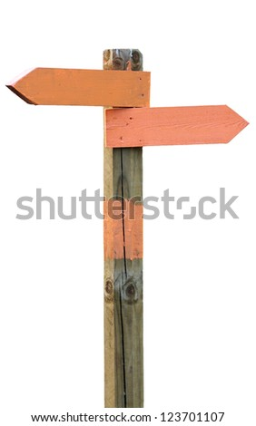 Isolated orange signposts on wooden pole - stock photo
