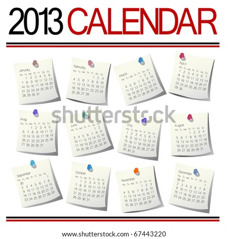 Isolated over white calendar months for year 2013 - stock photo