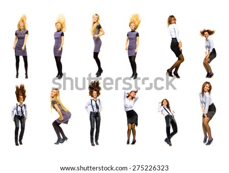 Isolated over White Dancing Together  - stock photo