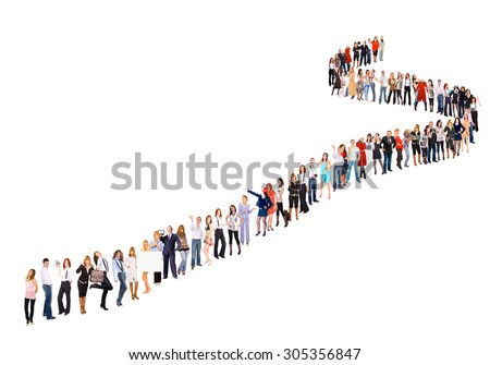 Isolated over White People in Queue  - stock photo