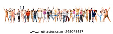 Isolated over White People Jumping  - stock photo