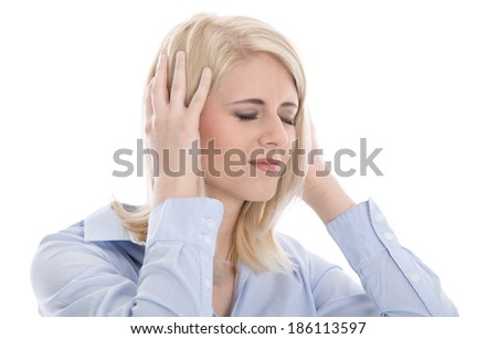 Isolated overworked businesswoman with headache on white. - stock photo