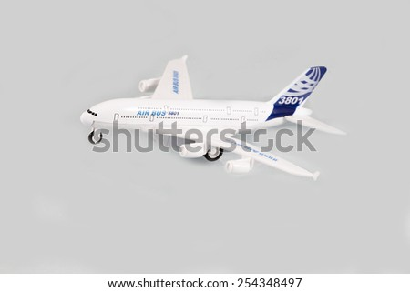 Isolated passenger aircrafts, Airplane flying in the air - stock photo
