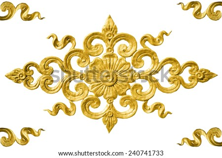 isolated pattern of flower carved on wall background ,Thailand - stock photo