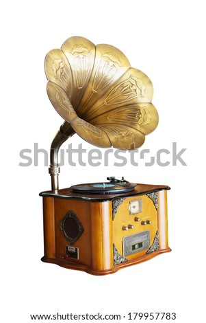 isolated phonograph in white background - stock photo