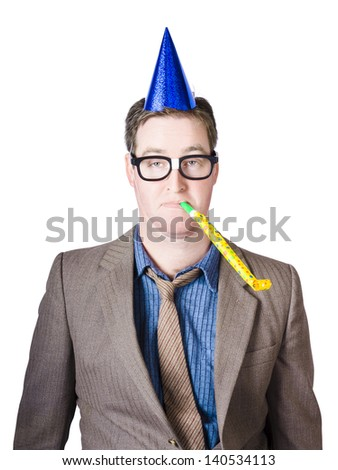 Isolated picture of a crazy drunk male worker at yearly work party tooting horn in dorky business fashion - stock photo