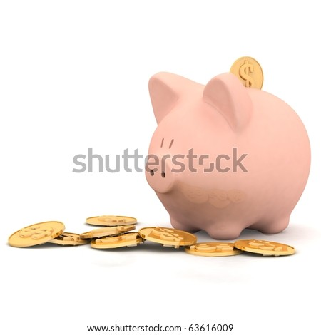 isolated piggy bank - stock photo