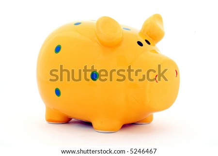 Isolated piggy bank, path included - stock photo