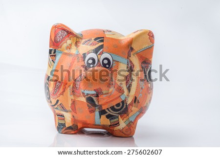 isolated Piggy for Saving Money white background. - stock photo