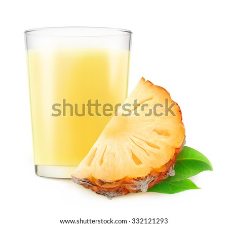 Isolated pineapple juice. Glass of pineapple milkshake and slice of fruit isolated on white background with clipping path - stock photo