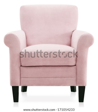 isolated pink armchair - stock photo