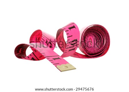 Isolated pink tape measure - stock photo