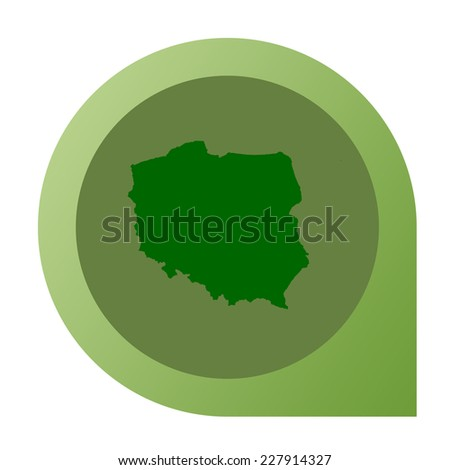 Isolated Poland map marker pin in flat web design style. - stock photo