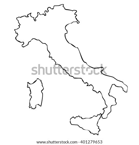 isolated political italian map without regions frontier contour - stock photo