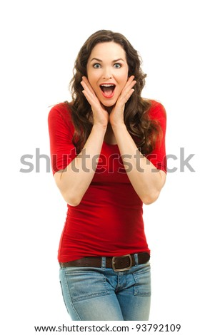 Isolated portrait of a beautiful surprised woman wearing a bright red top. - stock photo