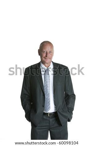 Isolated portrait of a senior executive businessman - stock photo