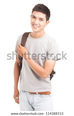 Isolated portrait of a teenage guy - stock photo