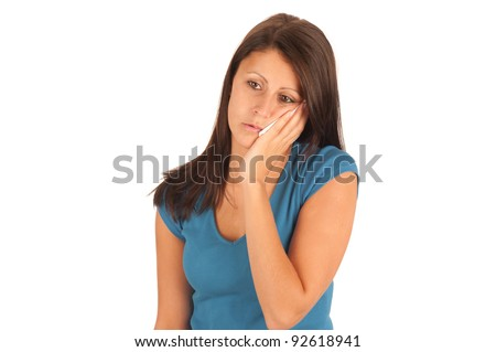 Isolated portrait of an attractive young woman suffering from toothache - stock photo