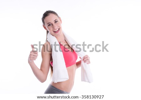 isolated portrait OF cheerful and beautiful young fitness woman  - stock photo