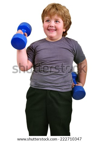 Isolated portrait of happy smiling kid exercising with dumbbells. Childhood, sports, strength, active lifestyle concept - stock photo