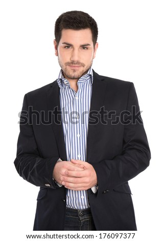 Isolated portrait of serious handsome bussiness man on white background.  - stock photo