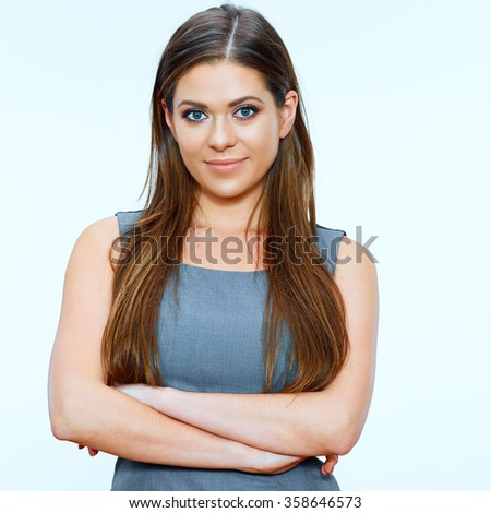 Isolated portrait of smiling successful business woman with crossed arms. - stock photo