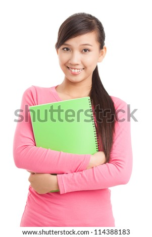 Isolated portrait of teenage student looking at camera - stock photo