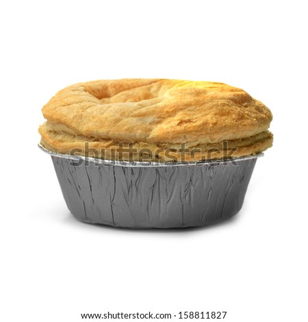 Isolated puff pastry meat pie with a foil base. Concept image for fast food, junk food or comfort food. Soft shadows against a white background. Copy space. - stock photo