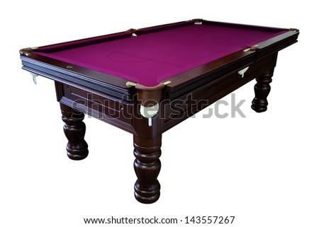 Isolated purple pool billiard snooker table - stock photo