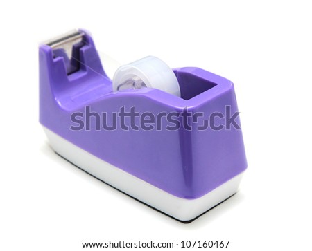 Isolated purple scotch tape in the holder - stock photo