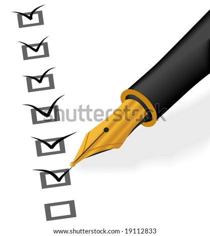 Isolated raster version of Gold pen checking - stock photo