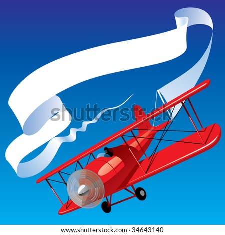 Isolated raster version of vector image of vintage red airplane with blank banner in the sky (contain the Clipping Path) - stock photo