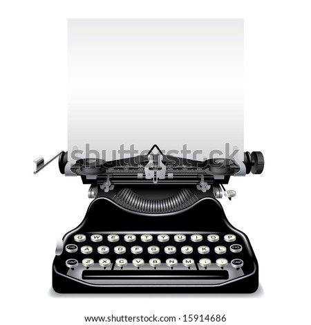 Isolated raster version of vector old typewriter with a paper (contain the Clipping Path) - stock photo