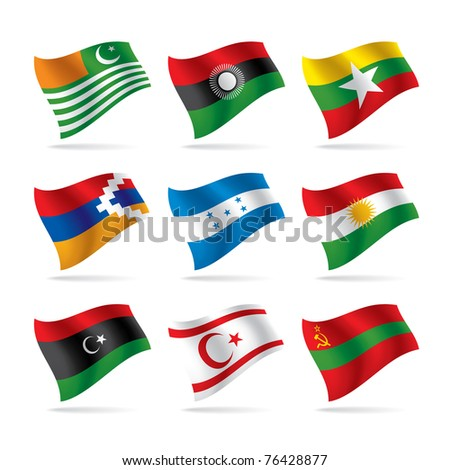 Isolated raster version of vector world flags set (contain the Clipping Path of all objects) - stock photo
