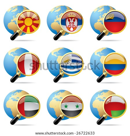 Isolated raster version of vector zoom world flag icons with a globe (contain the Clipping Path of all objects) - stock photo