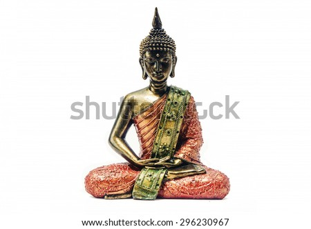 Isolated red and golden Buddha statue on white background - stock photo