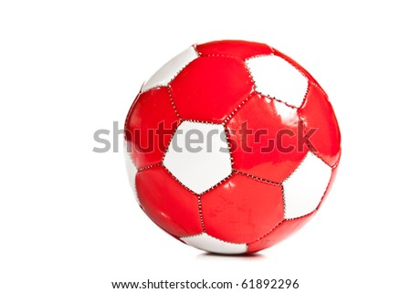 Isolated red and white football ball - stock photo