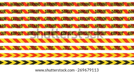 Isolated Red and Yellow Barrier Tape Line Collection - Caution/Hazard/Warning/Danger/Keep Out/Stripes/Arrows - stock photo
