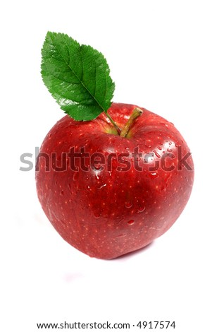 Isolated Red Apple - stock photo