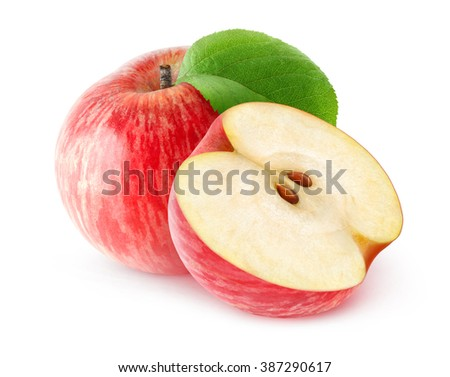 Isolated red apples. One and a half red apples isolated on white background with clipping path - stock photo
