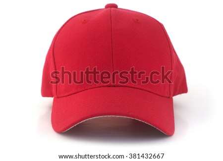 Isolated red baseball cap on a white background. - stock photo