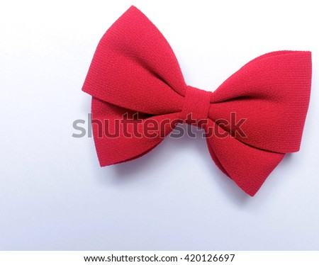 Isolated red bow for hair - stock photo