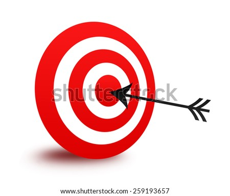 Isolated red bull's eye target and arrow illustration / clip art isolated on white background - stock photo