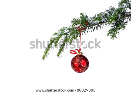 isolated red Christmas ornament hanging from a pine branch - stock photo