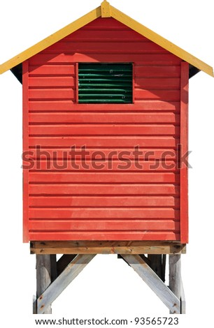 Isolated red green and yellow beach hut - stock photo