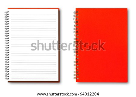 isolated red notebook on white. - stock photo