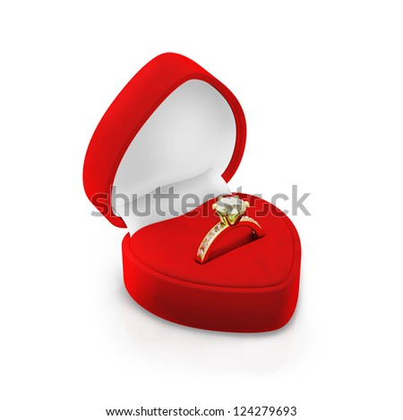 Isolated red ring box on white background - stock photo