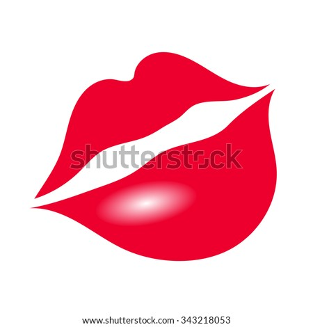 Isolated Red Seductive Lips - stock photo